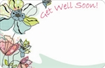 """Get Well Soon"" Pen & ink floral (Pack of 50 enclosure cards)"