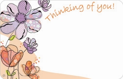 """Thinking of You"" Pen & ink floral peach/lav (Pack of 50 enclosure cards)"