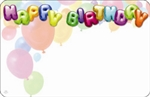 """Happy Birthday"" : Balloons w/balloon font (Pack of 50 enclosure cards)"