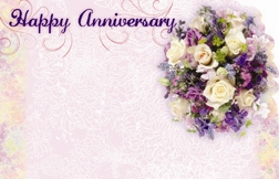"""Happy Anniversary"" : Lavender mixed bouquet (Pack of 50 enclosure cards)"