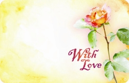 """With Love"" : Rose with yellow background (Pack of 50 enclosure cards)"