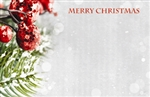 """Merry Christmas"" : Evergreen bough w/red berries (Pack of 50 enclosure cards)"