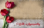 """In Loving Memory"" Trio of pink/red tulips (Pack of 50 enclosure cards)"