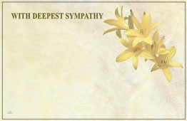 """With Deepest Sympathy"" Yellow Lilies (Pack of 50 enclosure cards)"
