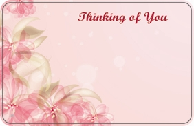 """Thinking of You"" Pink abstract flowers & tulle (Pack of 50 enclosure cards)"
