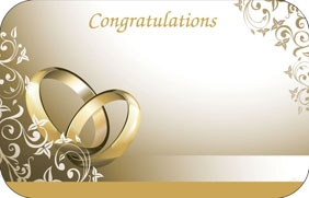 """Congratulations"" : Wedding Card Gold rings (Pack of 50 enclosure cards)"