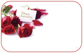 """Happy Anniversary"" : Red roses w/ sentiment card (Pack of 50 enclosure cards)"