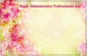"""Happy Admin Prof Day"" : Orange and pink floral imagery (Pack of 50 enclosure cards)"