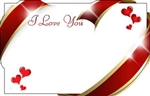 """I Love You"" : Red and gold edge ribbon swirls (Pack of 50 enclosure cards)"