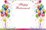 """Happy Retirement"" : Illustrated balloons 2-sided (Pack of 50 enclosure cards)"