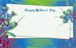 """Happy Boss's Day"" : Green with card & flower bundle (Pack of 50 enclosure cards)"