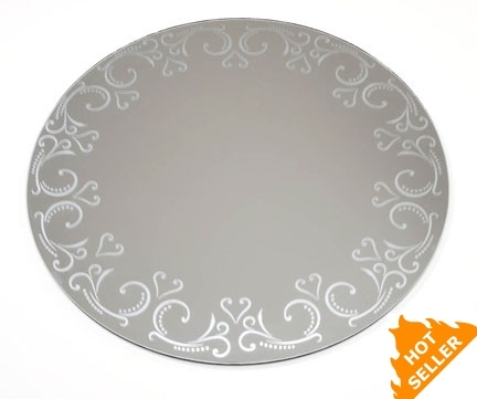 Round Centerpiece Mirror W Etched Pattern 12