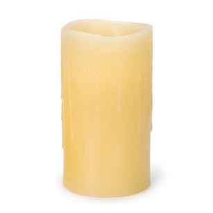 Flickering LED Candle, Dripping Wax Style, Ivory, 6 Inch Tall