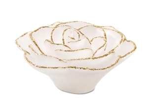 "3"" Rose Floating Candle - White w/ Gold Glitter"