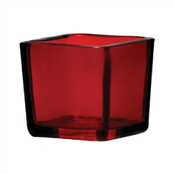 Cube Glass Vase 2x2x2 - Red