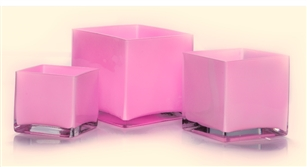 Cube Glass Vase 5x5x5, Pink - CASE OF 12