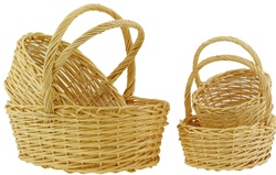Oval Natural Willow Basket with Holder - Set of 4