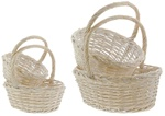 Extra Large Oval White Wash Baskets - Set of 4