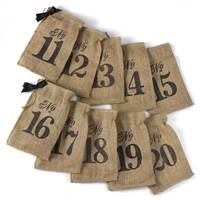 Numbers 11-20 Burlap Table Number Wine Bags