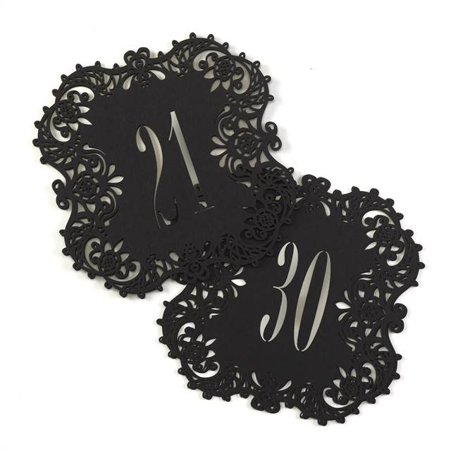 Black Laser Cut Table Number Cards 21-30