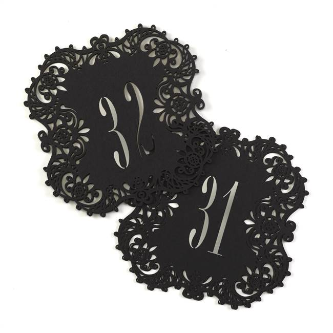 Black Laser Cut Table Number Cards 31-40
