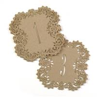Kraft Laser Cut Table Number Cards 1-10