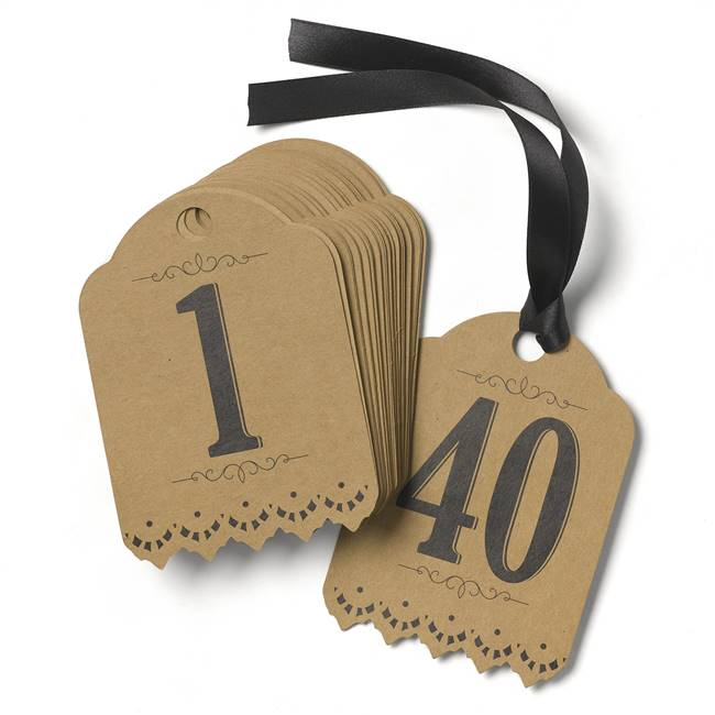 Vintage Kraft Table Number Tags (1-40)