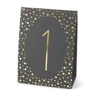 Polka Dot Table Number Tents - Gold