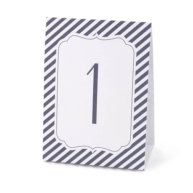 Navy Stripe Table Number Tents (1-40)