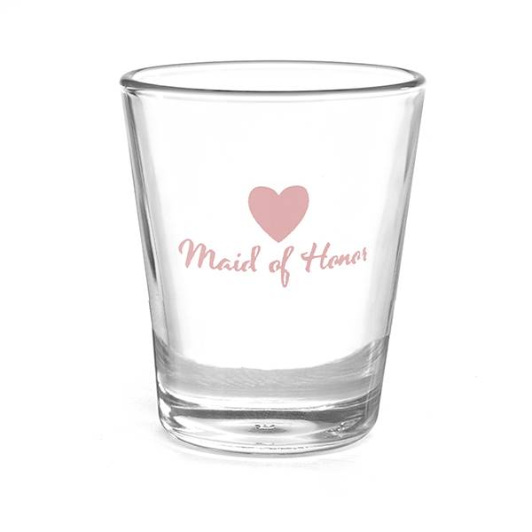 Heart Wedding Party Shot Glass - Maid of Honor