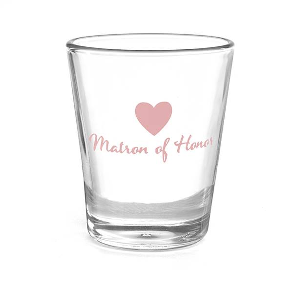 Heart Wedding Party Shot Glass - Matron of Honor
