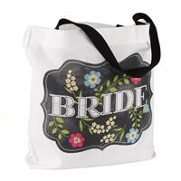 Chalkboard Floral Tote Bag - Bride - Design Only