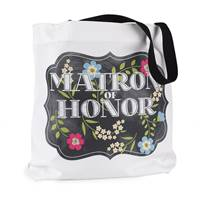 Chalkboard Floral Tote Bag - Matron of Honor - Design Only