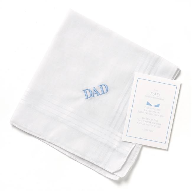 Dad Hanky w/Blue Embroidery