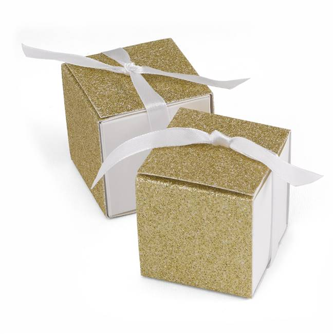 Glitter Wrap Favor Box - Gold