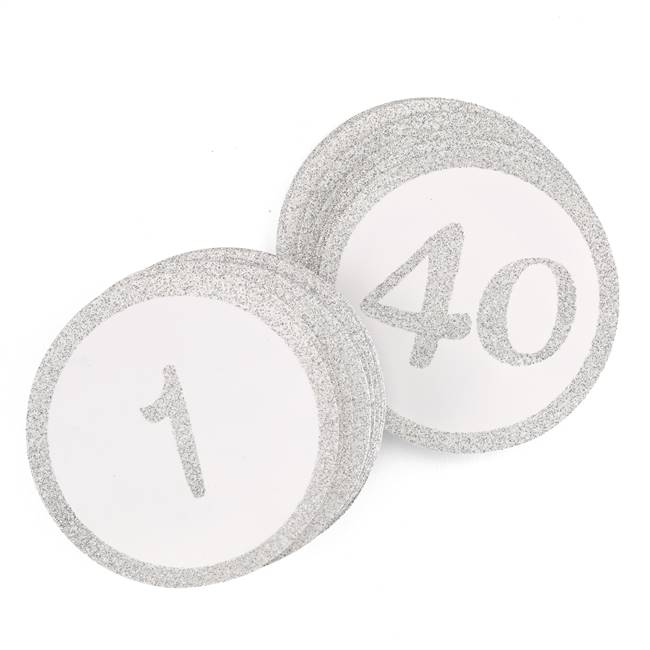 Glitter Table Cards - Silver - 1-40