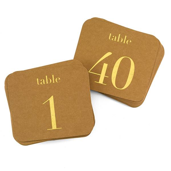 Kraft Table Number Cards - Gold - 1-40