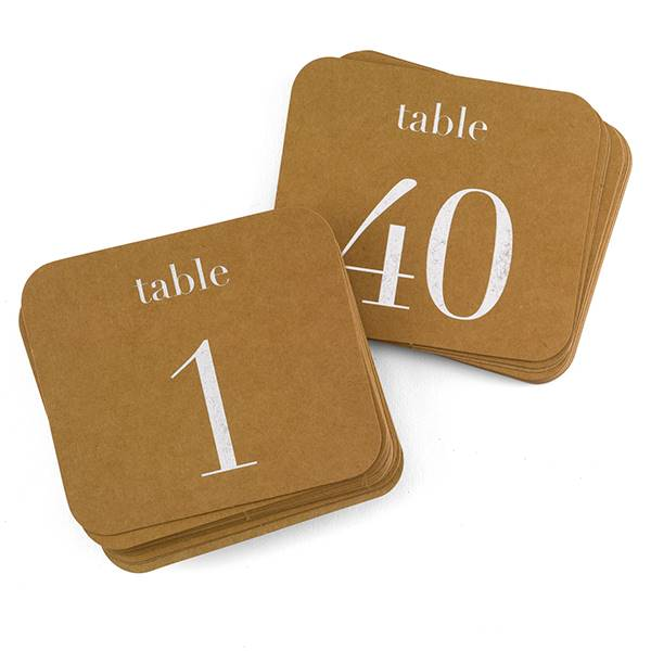 Kraft Table Number Cards - Silver - 1-40