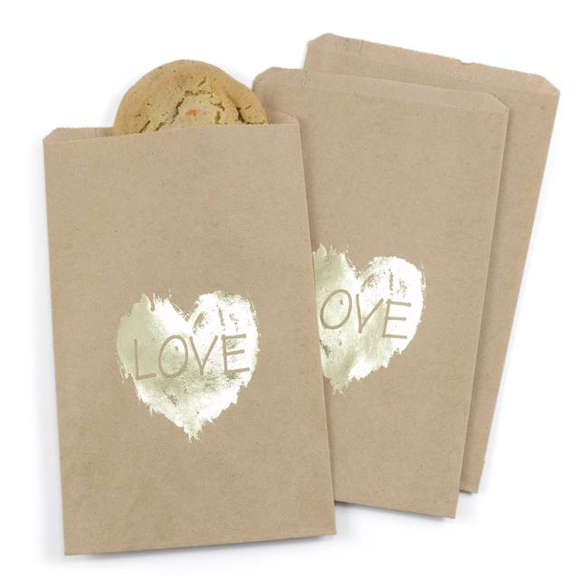 Brush of Love Treat Bags - Kraft - Blank