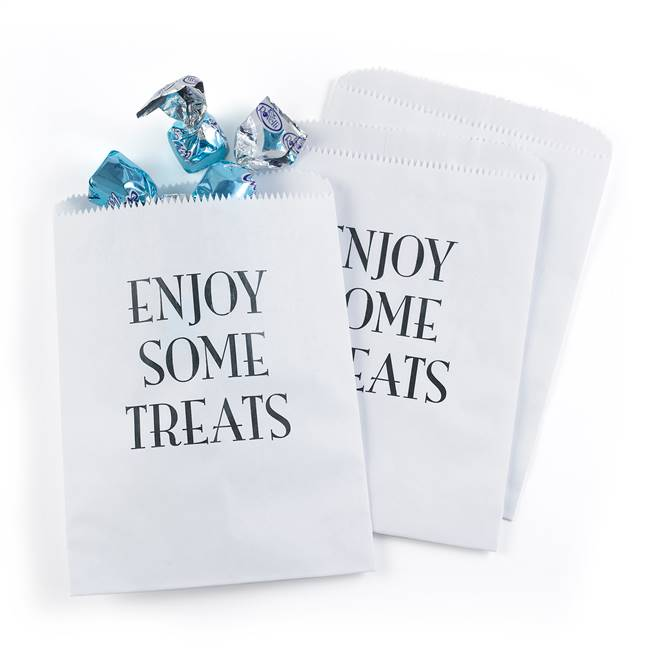 Enjoy Some Treats Treat Bags - White - Blank