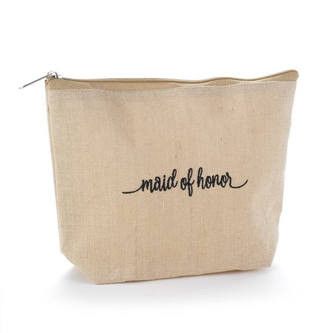Maid of Honor Natural Jute Cosmetic Bag