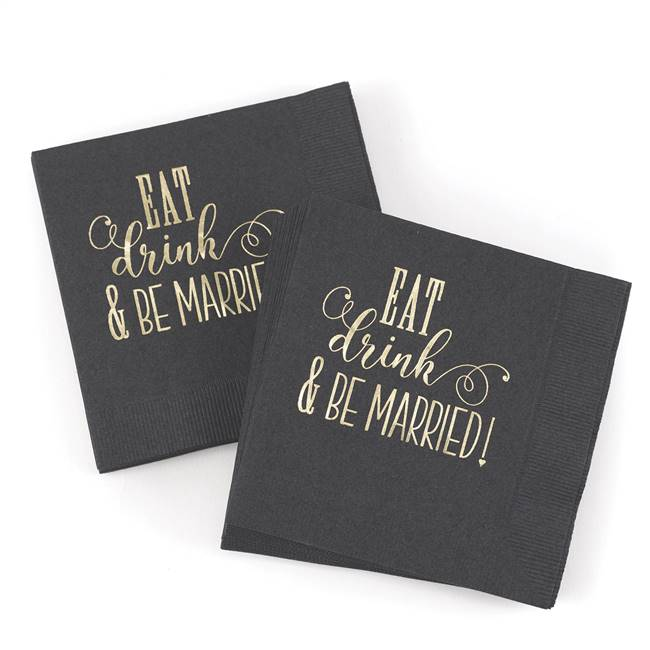 Eat, Drink, Be Married Napkin - Blank
