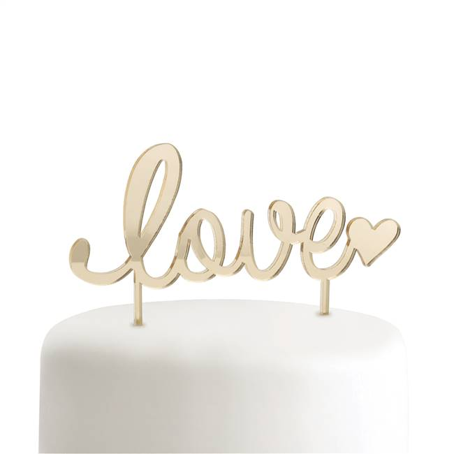 Gold Love Cake Pick
