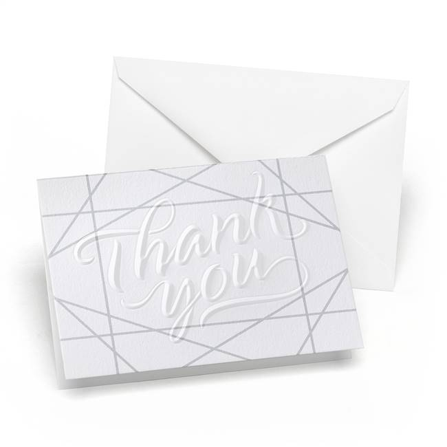 Geo Lines Embossed Thank You