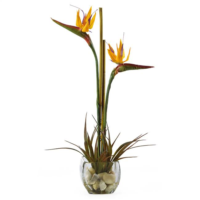 Tropical Bird of Paradise Liquid Illusion Silk Arrangement
