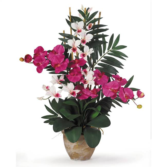 Double Phal/Dendrobium Silk Flower Arrangement