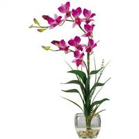 Dendrobium w/Glass Vase Silk Flower Arrangement
