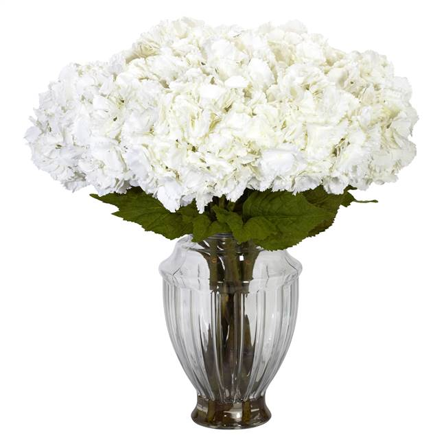 Large Hydrangea w/European Vase Silk Flower Arrangement
