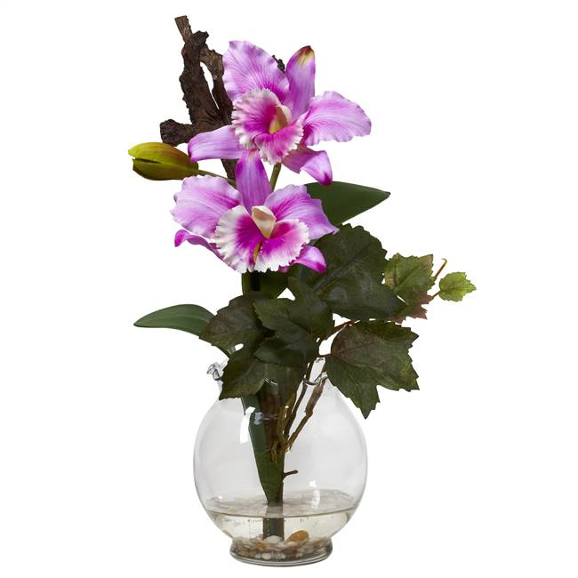 Mini Cattleya w/Fluted Vase Silk Flower Arrangement