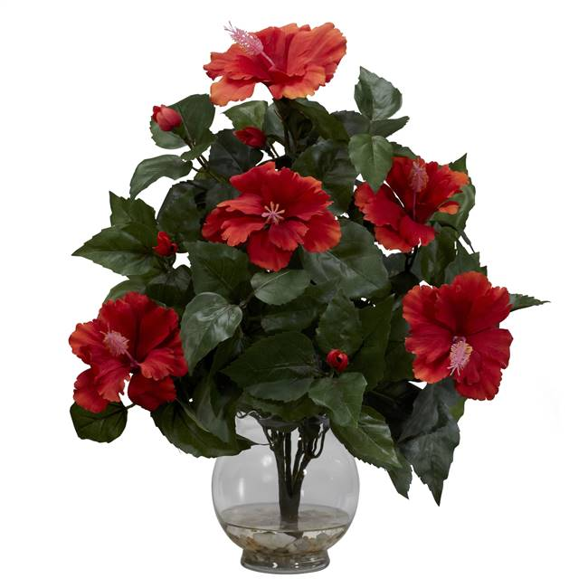 Hibiscus w/Fluted Vase Silk Flower Arrangement